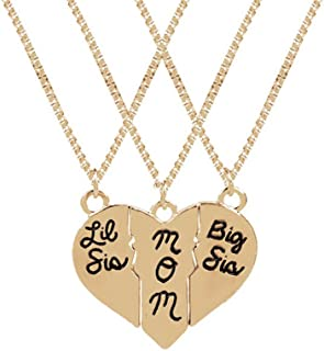 Hosaire Necklace Set 3 Piece Big Little Sister Mom Love Heart Necklace Family Gift for Women Girl Golden