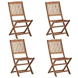 Festnight Folding Garden Chairs Outdoor Dining Chairs 4 pcs Solid Acacia Wood