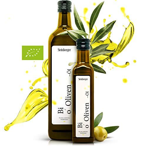 Premium BIO Natives Olivenöl von Steinberger | 100% rein & kaltgepresst aus der Koroneiki-Olive | intensiv-lecker | 750 ml Glasflasche