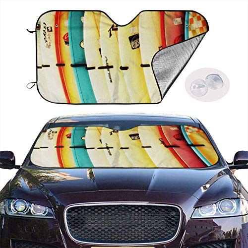 VTIUA Parasol para Parabrisa,parasoles de Coche Auto Colorful Surfboard Portable Universal Sunshade Keeps Vehicle Cooler for Car,SUV,Trucks,Minivan Automotive and Most Vehicle Sunshade (51 X 27 in)
