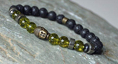 Prosperity, Confidence, Peridot, Pyrite, Rock Lava Buddha Bracelet, Mens gemstone mala bracelet, Meditation Spiritual Bracelet, Boho mens wrap bracelet,Zen Reiki Bracelet