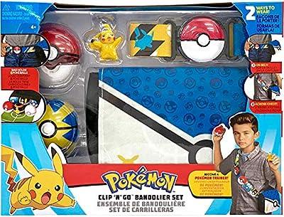 "Pokemon Bandolier Set - Features a 2"" Pikachu Figure, 2 Clip 'N' Go Poke Balls, a Clip 'N' Go Poke Ball Belt, and a Clip 'N' Go Carrying Bag - Bag Folds Out Into Battle Matt for 2"" Pokemon Figures"