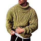 Vdnerjg Men's Thermal Turtleneck Sweater Long Sleeve Cable Knit Casual Chunky Pullover Jumper (Green,XX-Large)