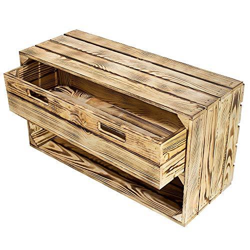 Moooble geflammtes Sideboard mit Schublade | 68x40x31 cm | betonte Holzoptik durch flambiertes Holz, EIN besonderes Wohnelement (1)