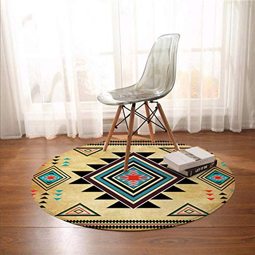 Asbjxny Geometric Printed Round Carpet Southwest Native American Floor Mat Aztec Area Rugs For Living Room DGY1373
