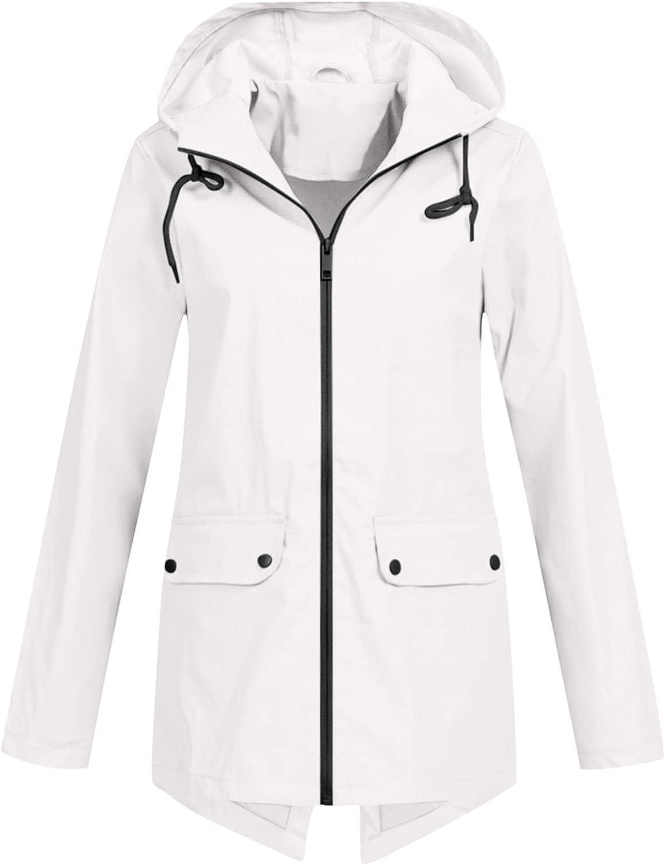 raillery Women Light Rain Jacket Waterproof Active Outdoor Trench Raincoat with Hood Lightweight Plus Size Solid Color Coat