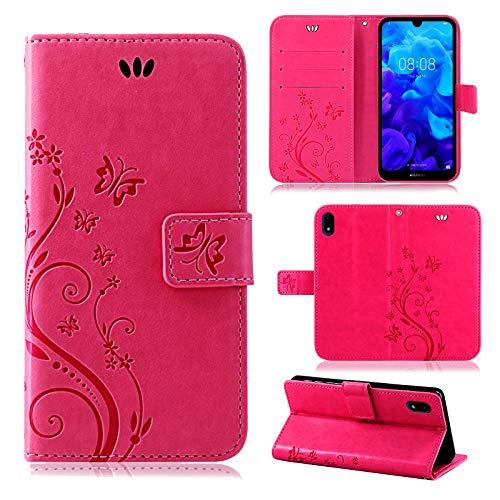 betterfon | Huawei Y5 2019 Hülle Flower Hülle Handytasche Schutzhülle Blumen Klapptasche Handyhülle Handy Schale für Huawei Y5 2019 Pink