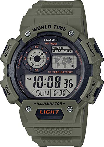 CASIO Herren Digital Quarz Uhr mit Resin Armband AE-1400WH-3AVEF