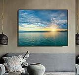 Wide seascape sunset pintura en lienzo impresiones de caligrafía decoración del hogar arte de la pared póster imágenes sala de estar sin marco pintura decorativa en lienzo P35 40x60cm