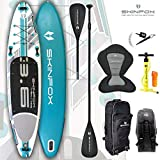 SKINFOX Whale 4-TECH L-Core SUP - Tabla de surf de remo (aluminio, 365 x 82 x 15 cm), color turquesa
