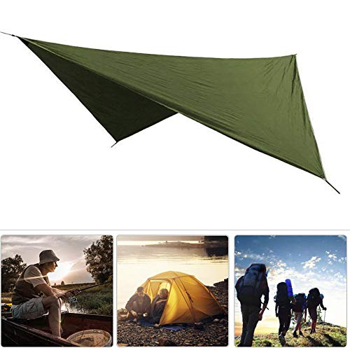 Canopy Awning, Polyester Fabric Waterproof Tent Awning, Ground Mat Rhombic for Hiking Camping(ArmyGreen)