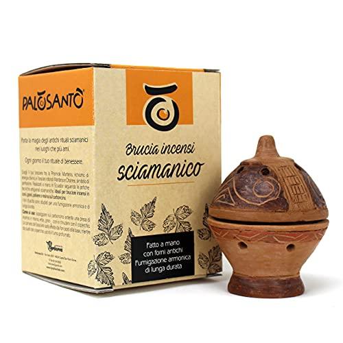 Brucia incenso Palo Santo - Porta incenso in Terracotta - Bruciatore di incenso Ideale per Grani, Coni e Trucioli - Profumatore per Ambienti - Realizzato a Mano