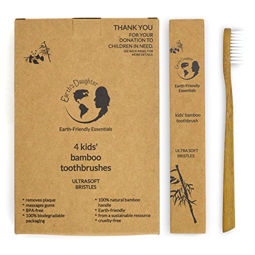 Toothbrush – As Seen On E! TV with Kathy Ireland! – Kids Natural Bamboo Toothbrush – Extra...