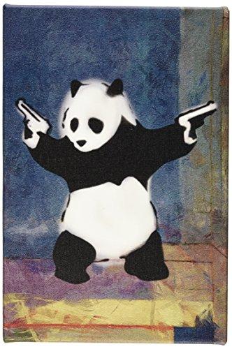 iCanvasART Panda with Guns Blue Square by Banksy Canvas Prin...