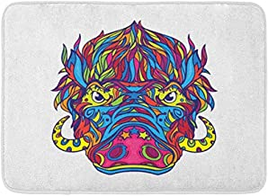 SZZWY Wild Face of Warthog in Line Coloring Book Page Black Boar Pig Angry Background Pattern Flannel Indoor Floor Mat Bath Rugs Prevent Shifting and skidding Super Absorbent 3D Printing 60x40cm