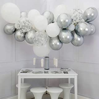 DIY Balloons Garland with Silve and White Balloons Confetti Balloons Chrome Shiny Metallic Latex Balloons 60pcs Perferct for Birthday Party Bridal Baby Shower Engagement Wedding Party Decor (Silver)