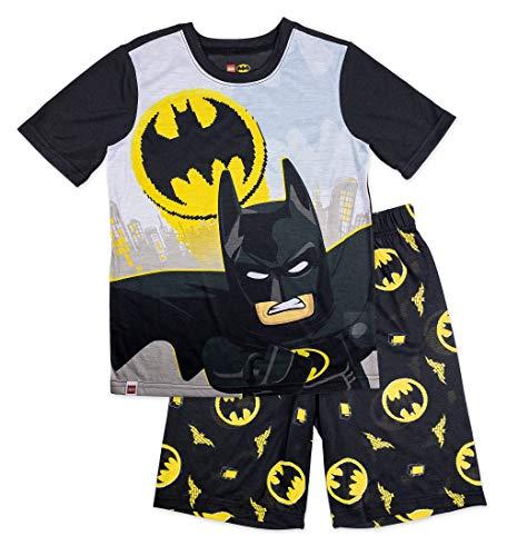 LEGO Batman Movie Boys 2 Piece Pajama Set, Short Sleeve Top with Short Leg Bottom, 100% Polyester, Boys Pajama (Black Yellow, 6/7)