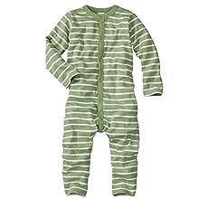 WELLYOU Pijamas para bebés y niños, Pijamas de una Pieza 100% Hecho de algodón, Color Verde con Rayas Blancas. Tallas 56-134 (80-86)