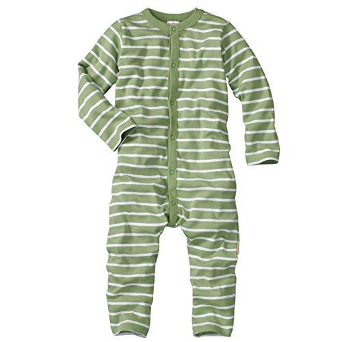 wellyou, Schlafanzug, Pyjama für Jungen und Mädchen, Einteiler Langarm, Baby Kinder, grün weiß gestreift, Geringelt, Feinripp 100% Baumwolle, Größe 80-86