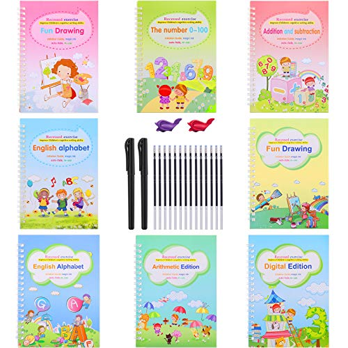 8 Pieces Magic English Practice Copybook for Kids Reusable Calligraphy Number Handwriting Copybook Tracing Book with 2 Magic Pen 2 Pen Grips 14 Refill Drawing Learning for Student