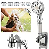 Dog-Shower-Head Faucet Sprayer-Attachment Bathtub-Sink - Filter Handheld with Pull-On Diverter(5-Adapter) for Pet Rinsing & Hair washing &Baby Bath, Water Splitter 2-Mode Aerator with Extension Hose