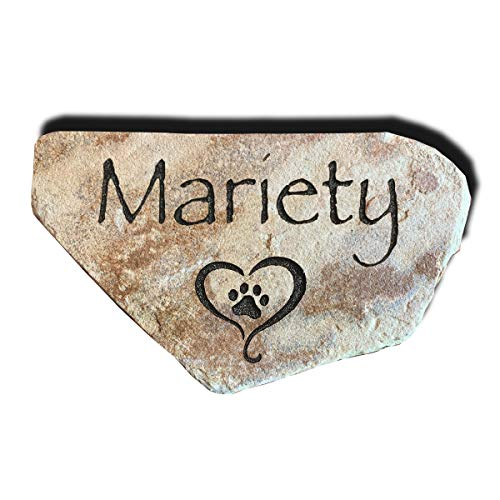 Pet Memorial Stone - Personalized Engraved Real Natural Stone - Dog, Cat, Small Animal - Grave Marker or Headstone, Garden Marker, Indoor Outdoor – Loss of Pet Gift - Pet Remembrance Gift (Watermark)