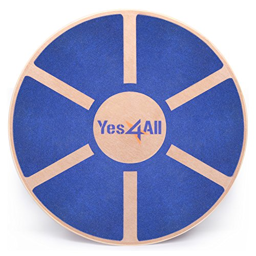 Yes4All Wooden Wobble Balance Board - Exercise Balance Stability Trainer 15.75 inch Diameter - Blue - ²L6CJZ
