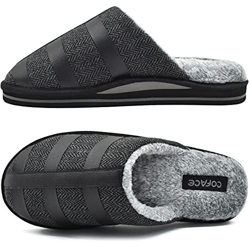 COFACE Pantofole Uomo Invernali, Morbido Scarpe Inverno Uomo, Ciabatte da Casa Uomo 43 nero