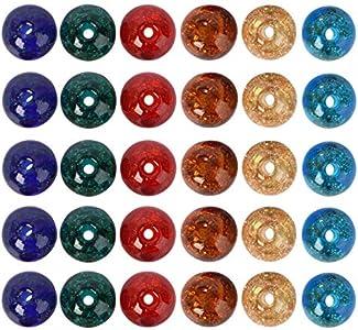 Artibetter 70Pcs Cuentas de Cristal Craquelado Murano Cuentas Sueltas Cuentas Espaciadoras Colgantes Cuentas Redondas para Manualidades Diy Pulseras Collares Fabricación de Joyas 8 Mm (Color