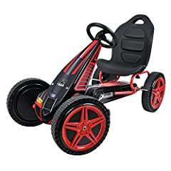 "Sporty 3 point steering for responsive, quick maneuvering Adjustable bucket seat will accommodate multiple heights. Large 12"" Rims Race-styled pedals with real rubber wheels & 8 ball style brake Frame - steel tube plus deluxe plastic fairing with gra..."