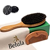 100% Boar Bristle Hair Brush for Men Set. Hairbrush for Thin, Normal and Short Hair. Boar Bristle Brush and Wooden Comb for Men. Free 2 x Palm Brush & Travel Bag Included.