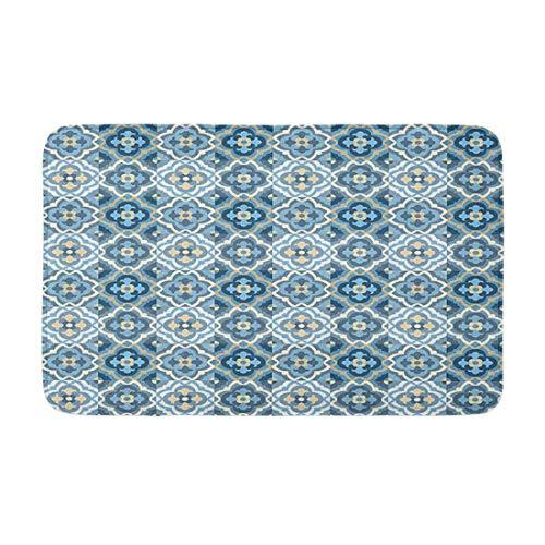 Azulejos de piso con patrón vintage de cuatro hojas de retazos patrón de colores lisos antideslizantes y absorbentes alfombras para cocina, piso, baño y puerta Mat 40,6 x 60,9 cm