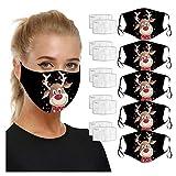 RUITOTP 5 Stück + 10 Filter lustige Weihnachten Mundschutz mit Motiv atmungsaktiv Stoff waschbar Wiederverwendbare staubdicht Mund und Nase Wache Hals Schal Gesichtsschutz