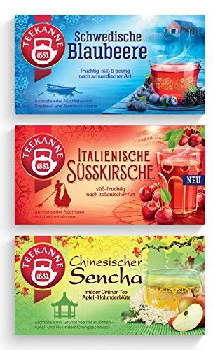 Teekanne Ländertee 3er Set - Schwedische Blaubeere, Italienische Süsskirsche, Chinesischer Sencha (135g)