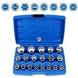CCLIFE Juego de llaves de vaso vasos insertables Gear Lock 1/2' 8-32mm,Pulgadas y Trox, 12 cantos