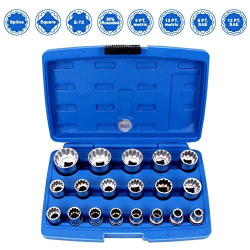 CCLIFE 19 tlg 1/2 Zoll Gear Lock Steckschlüssel Satz Torx 8-32mm Nusskasten Stecknüsse Außen Innen Vielzahn Nüsse