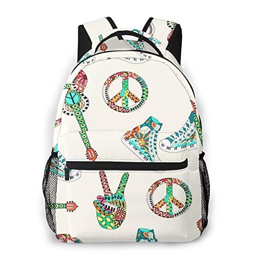 Zaini Casual per Ragazzi Ragazze Donna Uomo, Hippie Peace Symbol Acoustic Zaino Scuola per Computer Portatile College Borsa Zaino Bambini Daypack