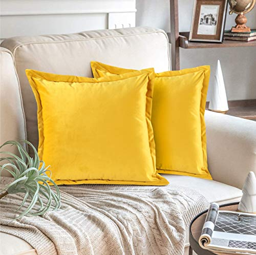 Adam Home Velvet Cushion Covers with Invisible Zipper 18x18 Inch (45x45 cm) Decorative Throw Pillow Cases for Sofa, Bedroom, Couch, Office (Mustard Pack of 2)