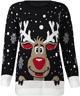 Women`s Sweatshirt Christmas Reindeer 3D Printed O-Neck Long Sleeve Tops Blouse Warm Sweater Pullover WEI MOLO