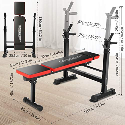 Folding Adjustable Weight Bench with Barbell Rack, Multi-Function Strength Training Adjustable Benches for Fitness Exercise and Strength Workout (Red)