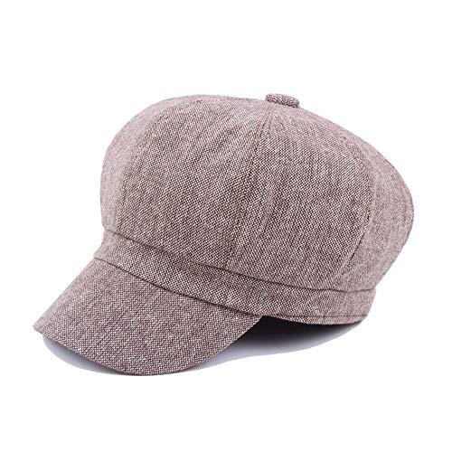 Sombrero de Boina Sombreros for Mujer Invierno Lana Algodón Hombre Arte Octagonal Gorra Algodón Y Lino Color sólido Sombrero de Pintor Retro LRJTLKJ (Color : Púrpura, Size : 56-58CM)