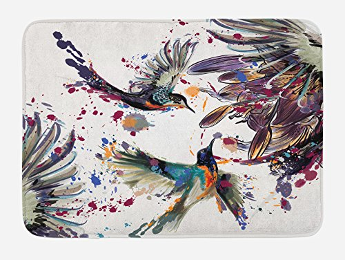 Ambesonne Hummingbird Bath Mat, Art Lily Flowers Birds and Color Splashes in Watercolor Painting Style, Plush Bathroom Decor Mat with Non Slip Backing, 29.5' X 17.5', Orange Blue
