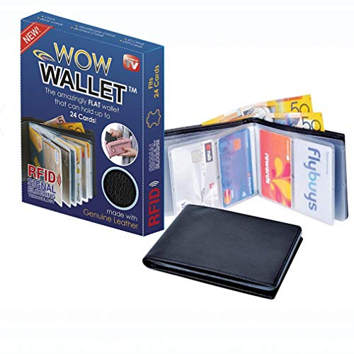 Amazing Men and Women Slim Genuine Leather wonder Wow Wallet - Credit Card Protector - RFID Blocking Case by ALLmuis