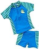 Playshoes Jungen Hemden/ Freizeit, gestreift UV-Schutz nach Standard 801 und Oeko-Tex Standard 100 Bade-Set 2 tlg. Surfer in blau mit grünen Streifen 461052, Gr. 122/128, Blau(791 blau/grün)