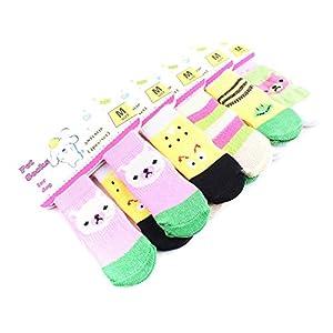 QIYUN.Z Multicolore Coton Doux Chaussettes Chaudes Chiot De Chien Patte Protecteurs Couleur Fournitures pour Animaux De Compagnie Une Couleur Aleatoire Envoye