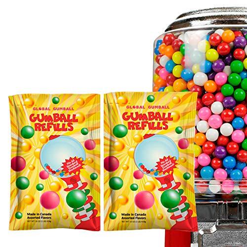 Global Gumball Bubble Gum Balls Refill for Gumball Machine 2 Packs - 0.5 inch 13 mm - Bulk Gum 2 lb 520pcs