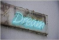 ロンドンストリート9008066の汚れた壁にHDブルーネオンサインの夢(大人のためのプレミアム1000ピースジグソーパズル19x27)