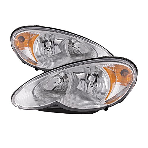 HEADLIGHTSDEPOT Chrome Housing Halogen Headlights Compatible with Chrysler PT Cruiser 2006-2010 Includes Left Driver and Right Passenger Side Headlamps