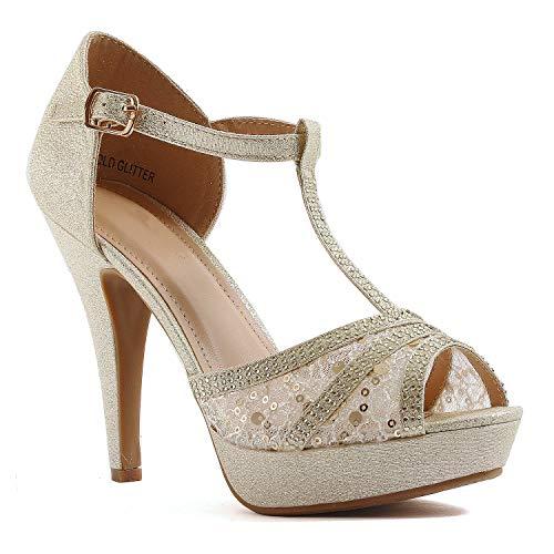 Guilty Shoes Womens Open Toe Crochet Lace Stiletto Peep Toe Pump High Heel Sandals (7.5 M US, Goldv1 Lace)