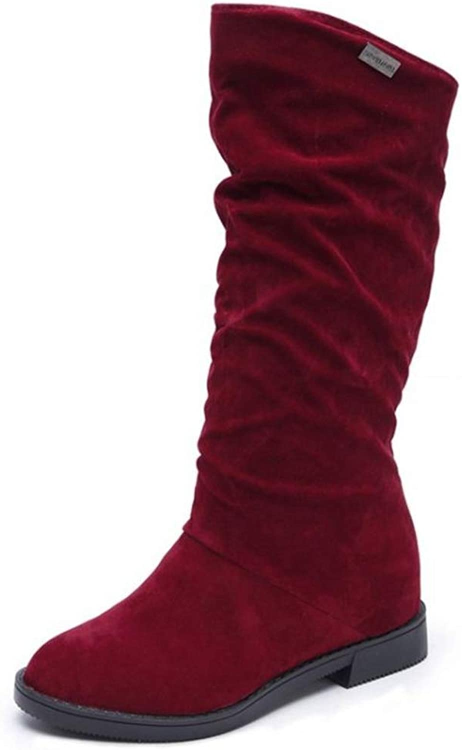 Women's Mid-Calf Boots Women Flats Round Toe Simple Classic shoes Waterproof Casual Snow Boot